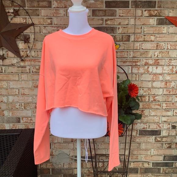 Neon Orange Wild Fable cropped sweat shirt